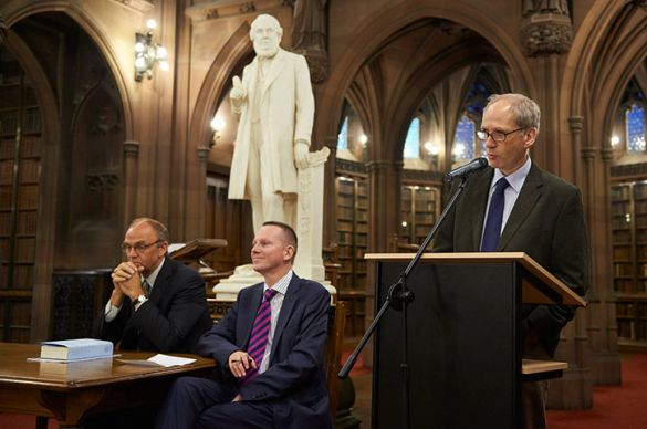 Co-editors Gareth Lloyd (at lectern) and Kenneth Newport (left) spoke recently about the book
