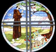 A stained-glass window showing St. Francis is featured at Saint Francis United Methodist Church in Charlotte, N.C. Photo courtesy of Saint Francis United Methodist Church.
