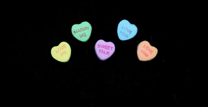 Candy hearts express sentiments appropriate for Valentine's Day. Photo by Kathleen Barry, UMNS.