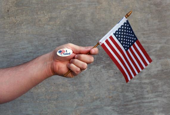 Many wear a sticker to indicate they have voted. Voting is a way Christians can give a voice to their beliefs in government. Photo illustration by Kathleen Barry, United Methodist Communications.
