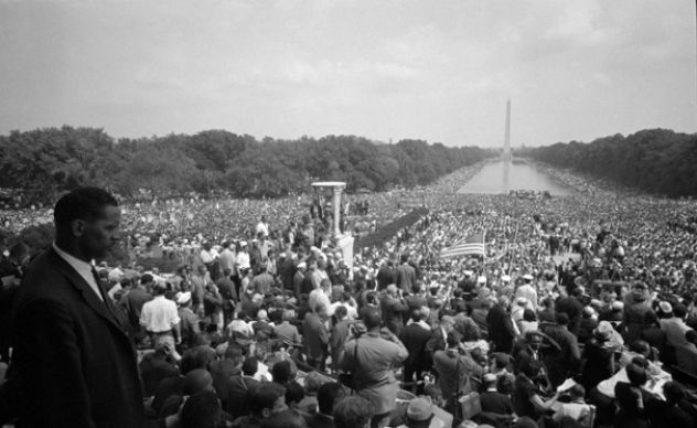 A photo taken from the steps of the Lincoln Memorial shows part of the 200,000 crowd from the 1963 Civil Rights March on the District of Columbia.
