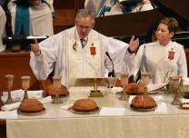 Bishop Bruce Ough presides over Holy Communion during the Memorial Service on Nov. 5.