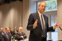 Bishop Ken Carter, president of the Council of Bishops, speaks during the Judicial Council's fall meeting at the Placid Hotel in Zürich, Switzerland.