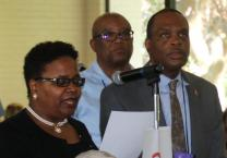 Bishop LaTrelle Easterling, co-chair of the Ebony Bishops Forum, reads the statement at the Council of Bishops meeting Tuesday, November 06, 2018, as other Ebony bishops including co-chair Bishop Leonard Fairley, Bishop Earl Bledsoe and others stand in support.