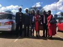 Family and fellow United Methodist members celebrate the return of Malawian Miracle Osman. Pictured left to right: Rev. Daniel Mhone (Conference Superintendent), Pastor Kalondola Nkhata (Miracle's Father), Malawian Miracle Osman, Mrs. Nkhta (Miracle's mother), Rev. Kambona (District Superintendents for Southern District), Mrs. Kambona