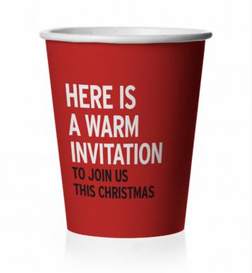Hot cocoa cups will encourage recipients to visit a local United Methodist church this Christmas.