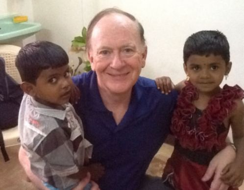 Dr. Donald Messer, UMGAF co-chair/executive director of the Center for the Church & Global AIDS, with Indian children born HIV-free, thanks to a clinic in Namakkal that was initially started with a grant from the United Methodist Global AIDS Fund.