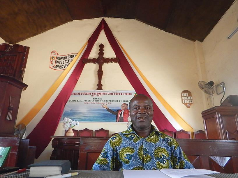 Lay pastor Raphaël Aboua serves Ebenezer Beago United Methodist Church in Abidjan and 10 other United Methodist Churches in Côte d'Ivoire. Photo by Isaac Broune, UMNS.