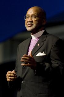 Bishop Felton May at the 2008 United Methodist General Conference in Fort Worth, Texas. May is interim chief executive of the United Methodist Board of Global Ministries. A UMNS photo by Mike DuBose. Photo #GC0088. April 24, 2008. Photo by Mike DuBose, United Methodist Communications.