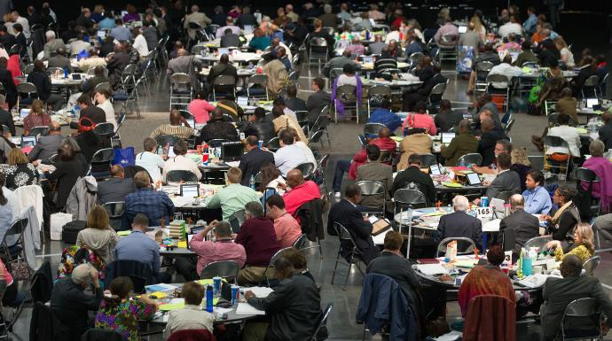 Delegates consider legislation during the 2016 United Methodist General Conference in Portland, Ore. Photo by Mike DuBose, UMNS.