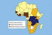 Map shows the borders of three central conferences in sub-Saharan Africa. The Africa Central Conference, in gold, proposes splitting itself into four. Map by Cindy Caldwell, United Methodist Communications; edited from original.