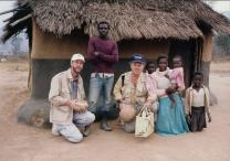 Harry Leake, far left, and Fred Rowles, center, in Zimbabwe, 1992.