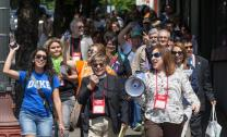 "The United Methodist Church officially is in ""support of just and fair immigration policies that benefit and allow the family to preserve and maintain its unity."" Methodists in support of immigration reform marched down Martin Luther King Jr. Boulevard outside the 2016 United Methodist General Conference in Portland, Oregon.  File photo by Mike DuBose, UMNS."