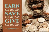 John Wesley's famous advice on stewardship: Earn all you can, save all you can, give all you can. Photo illustration by Cindy Caldwell; image by Kathryn Price, United Methodist Communications.