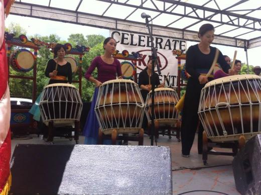 Korean drummers celebrate Juneteenth at Goodsell UMC in Lanett, Alabama, highlighting the multiethnic focus of the community event. Photo courtesy of Goodsell United Methodist Church.