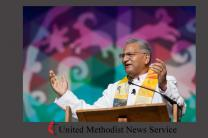 Bishop Ivan Abrahams preached May 17 at the 2016 United Methodist General Conference in Portland, Ore., and he'll be in the spotlight at the World Methodist Conference, set for Aug. 21-Sept. 3 in Houston. Abrahams, a South African, is top executive of the World Methodist Council. Photo by Mike DuBose, UMNS.