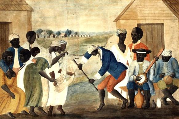 This painting from the 1780s titled, The Old Plantation, depicts African-American slaves dancing to banjo and percussion. Artist unknown. Image from Wikimedia Commons.