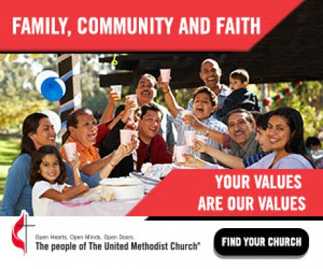 """English display ad that is part of the """"The United Methodist Church: Your faith. Your culture. Your place."""" advertising campaign."""