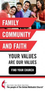 """Alternate English display ad that is part of the """"The United Methodist Church: Your faith. Your culture. Your place."""" advertising campaign."""