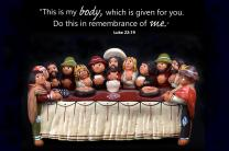 Figurine of the Last Supper from Bolivia. Photo by Kathleen Barry/memes by Laurens Glass, United Methodist Communications.