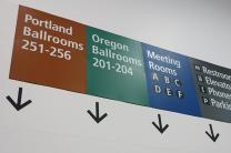 Signs in the Convention Center in Portland, Oregon. Photo by Diane Degnan, United Methodist Communications.
