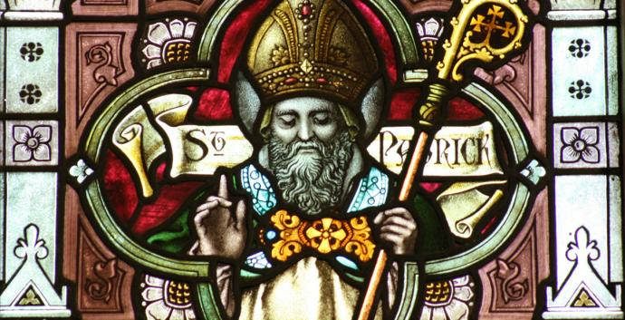 Image of St. Patrick in stained glass window at church in West Melbourne, Australia. Courtesy of Chesterbelloc, Wikimedia Commons.
