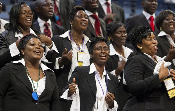 National Choir of Cote d'Ivoire sings during the Thursday evening worship service
