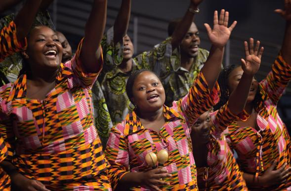 Members of the Africa University Choir sing during an April 29 mission celebration during the 2012 United Methodist General Conference in Tampa, Fla. A UMNS photo by Paul Jeffrey.
