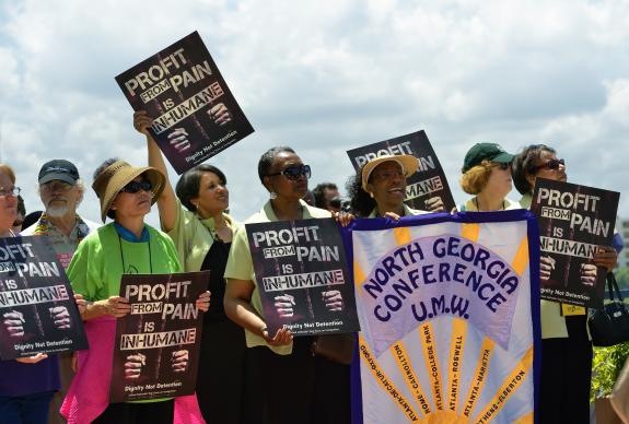 United Methodist Women from the North Georgia Annual (regional) Conference joined others from around the world in a rally against private prisons during the 2012 United Methodist General Conference in Tampa, Fla. The rally was sponsored by United Methodist Women and the United Methodist Task Force on Immigration. A UMNS photo by Paul Jeffrey.