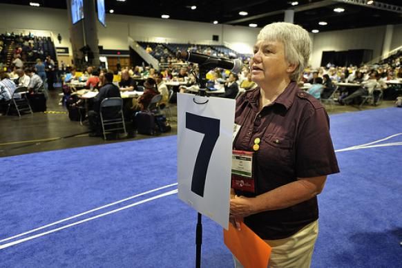 Jan Nelson, a lay delegate and member of United Methodist Women from the Oregon-Idaho annual conference, speaks during a debate in the plenary session of the 2012 United Methodist General Conference in Tampa, Florida. A UMNS photo by Paul Jeffrey.