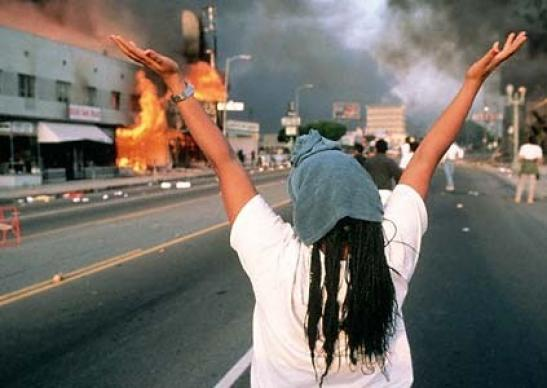 Fires erupted in LA for three days after the Rodney King verdict; there was looting and riots, chaos, civil unrest, and a social uprising in the racially divided city.