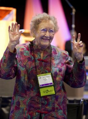 Louise Short greets General Conference 2012. A UMNS photo by Mike DuBose