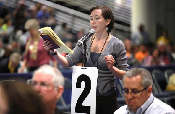 Sara Ann Swenson, a delegate from Minnesota, asks The United Methodist Church to stand