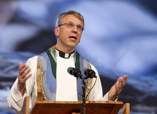 The Rev. Olav Fykse Tveit gives the sermon during evening worship at the 2012 United Methodist General Conference in Tampa, Fla. A UMNS photo by Mike DuBose.
