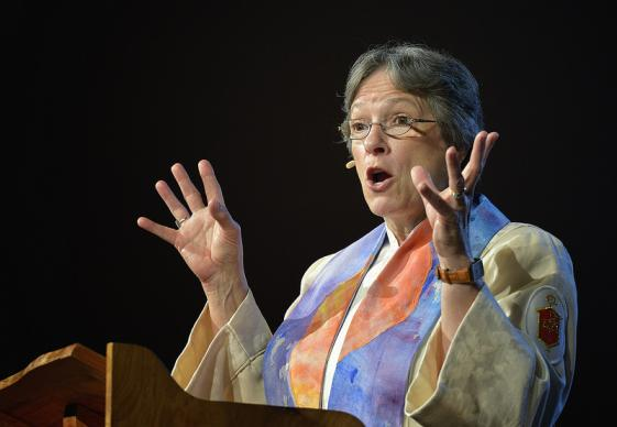 Bishop Deborah Lieder Kiesey preaches on May 3 at the 2012 United Methodist General Conference in Tampa, Florida. A UMNS photo by Paul Jeffrey.
