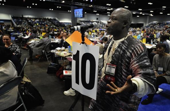 The Rev. Jerry Kulah, a delegate from Liberia, speaks during a May 1 session of the 2012 United Methodist General Conference in Tampa, Fla., during a debate on the Preamble to the Social Priniciples. A UMNS photo by Paul Jeffrey