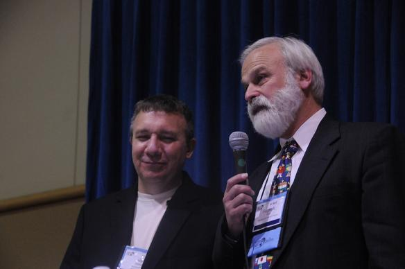 "The Rev. Alan J. Morrison (left), business manager of General Conference, and the Rev. L. Fitzgerald ""Gere"" Reist, secretary, address first-time delegates during an April 24 orientation. A UMNS photo by John C. Goodwin."