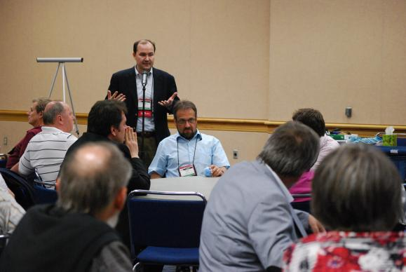Rev. Sergei Nikolaev (Central Russia) shares with delegates in the Eurasia continent gathering.