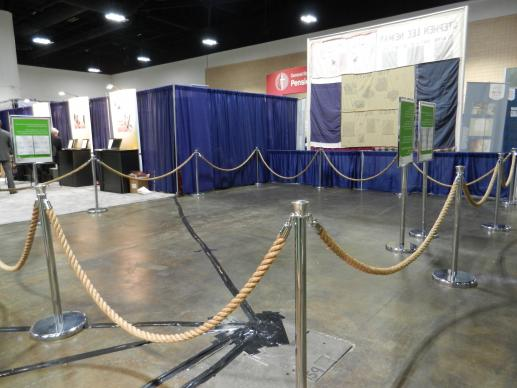 The empty display space at the United Methodist Women's booth in the exhibit hall of General Conference 2012.