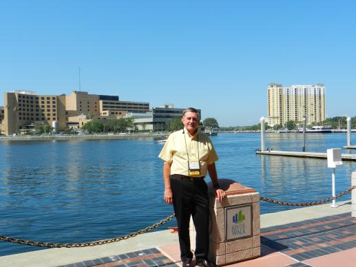 Home Missioner Bill Dudleson takes a break at the Tampa Convention Center before his commissioning at Palma Ceia United Methodist Church. Photo: Linda Unger.