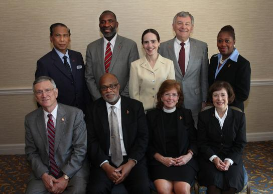 The Judicial Council from 2008-12 poses for a group photo during the 2012 United Methodist General Conference in Tampa, Fla. Seated, from left: Belton Joyner, Jon R. Gray, Susan Henry-Crowe, and Kathi Austin Mahle. Standing from left: Ruben T. Reyes, Dennis Blackwell, Beth Capen, William B. Lawrence and Angela Brown. A UMNS photo by Kathleen Barry