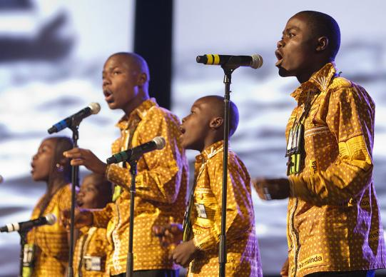 The Kamana 5 Singers from the Democratic Republic of Congo sing during worship at the 2012 United Methodist General Conference in Tampa, Fla. A UMNS photo by Mike DuBose.