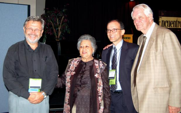 Juan Gattinoni (GBGM Argentina), Nora Boots, Jorge Domingues, and Wilson Boots at the Encounter With Christ quadrennial meeting, Palma Ceia UMC, Tampa, Fla. Nora and Wilson were honored for their service to Encounter with Christ. Photo: Christie R. House