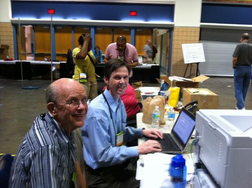 Tim Tanton and Rich Peck working along with a great team of communicators. We'll be here until it's all over tonight.