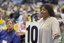 M. Garlinda Burton, top staff executive of the United Methodist Commission on the Status and Role of Women, speaks about proposed church restructuring on May 2 during the 2012 United Methodist General Conference in Tampa, Fla. A UMNS photo by Mike DuBose.