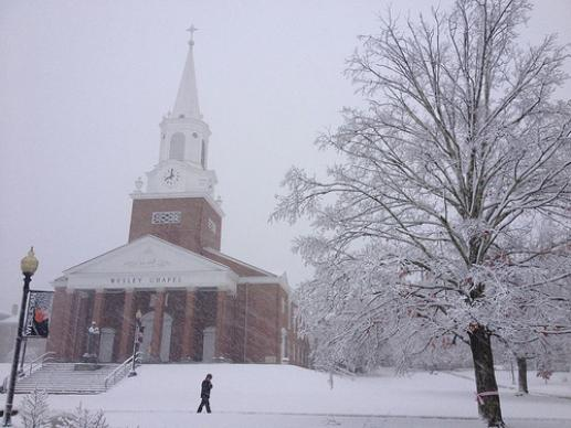 A snowy Wesley Chapel, on the campus of West Virginia Wesleyan College in Buckhannon, W.Va. Photo: Patrick Traxler
