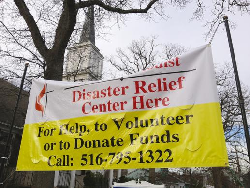 Community United Methodist Church's disaster relief center in Massapequa, N.Y.