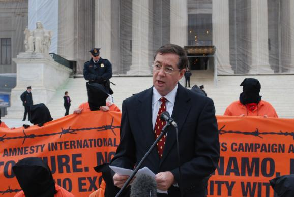 "Jim Winkler, chief executive of the United Methodist Board of Church and Society, joins in the Day of Action Against Guantanamo. ""Torture is wrong, without exception. It violates the teachings of all the world's religions,"" he said. Photos by Michelle C. Whittaker."