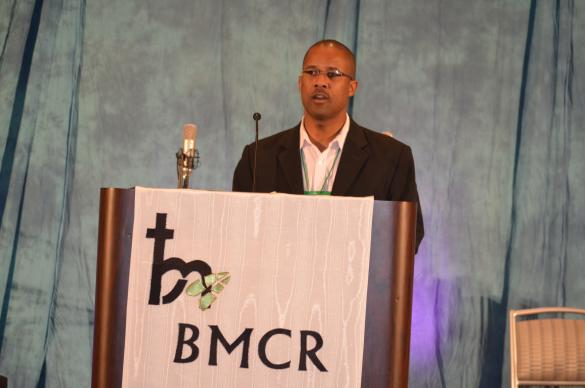 The Rev. Cedric Bridgeforth presents the restructuring plan at the meeting of Black Methodists for Church Renewal.