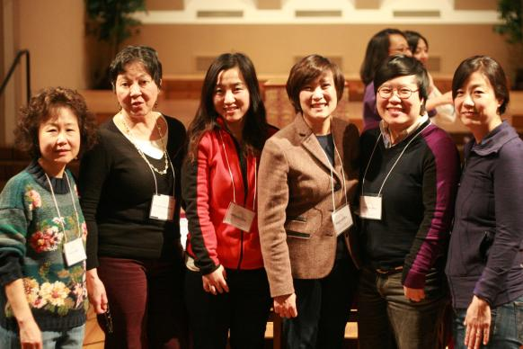 Current and former Women of Color Scholars involved in the recent Pacific Asian North American Asian Women Theology and Ministry conference are, from left, Jung Ha Kim, Rita Nakashima Brock, Ahyun Lee, Hannah Ka, June Hee Yoon and Anne Joh.